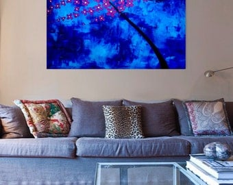 """Original Modern Abstract Tree Flower Blue Purple Silver Blossom Landscape Acrylic Painting, 36"""" x 24"""" by iVGallery"""