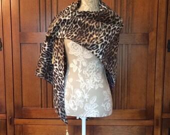 Fleece Triangle Shawl Wrap Leopard Tassels Edge Topstitching Handmade