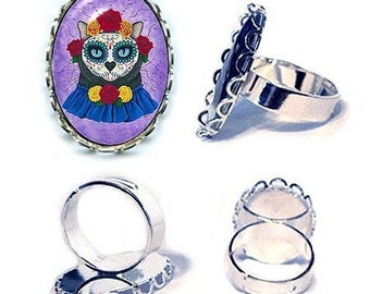 Day of the Dead Cat Ring Gal Mexican Sugar Skull Cat Art Cameo Ring 25x18mm Gift for Cat Lovers Jewelry