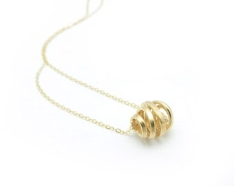 Gold Fill Necklace, Gold Fill Pendant, Minimalist Necklace, Minimalist Jewelry, Gold Jewelry, Spiral Pendant Necklace, Pendant Necklace