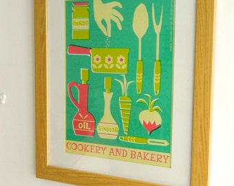 Retro Hobbies and Pastimes A3 Poster Print - Cooking and Baking