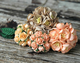 50pcs . Peach Paper Flowers . Small Paper Flowers . Wedding Paper Flowers . Millinery Flowers . Fall Wedding Decorations Bridal Shower Decor