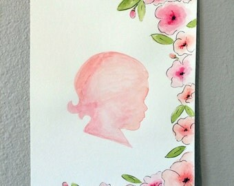 Custom Hand Painted Silhouette - Floral Border