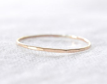 Extra Skinny gold filled stacking ring - delicate gold ring - faceted hammered texture - thin dainty ring - gossamer ring / Silk .8mm
