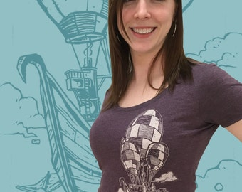 Pirate Airship Tshirt - Hot Air Balloon Womens Scoop Neck Tee