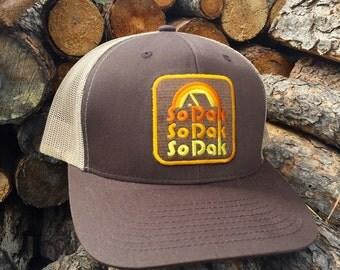 South Dakota Trucker Hat - SoDak Retro Trucker Snapback Cap - SoDak Camping Vintage Style Hat by Oh Geez Design