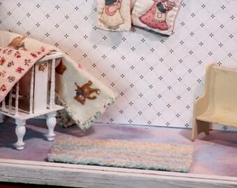 Miniature handwoven rug pastels
