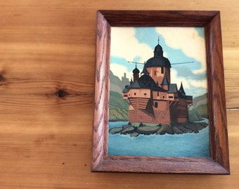 Vintage Painting of a Castle, Dark Wood Frame. Wall Art. Medieval, European, Stylized Landscape Painting. Weird, Surreal, Fantasy.