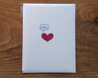 hello heart card blank hand printed romance anniversary valentine texting I love you