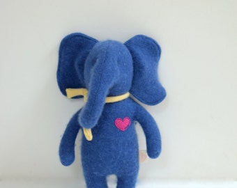 stuffed Elephant Small OOAK blue elephant doll eco toy upcycled cashmere sweater Baby shower gift soft plush toy elephant bubynoa Elifants