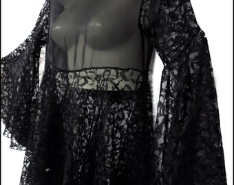 Rare Vintage Gothic Black Chiffon and Floral Lace Shadowen Tunic Made in Salem, MA by Atrocities - Flared Sleeves + Undulating Hem