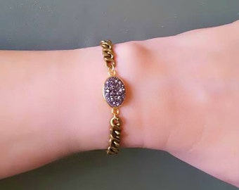 Raw Stone Druzy Gold Silver Bracelet, Toggle Clasp, Raw Stone Jewelry, Gold Brass Chunky Chain Bracelet, EDGY BOHO Jewelry, Druzy Bracelet