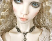 BJD Antiqued Silver Cross Stampings Necklace SD EID Doll Jewelry