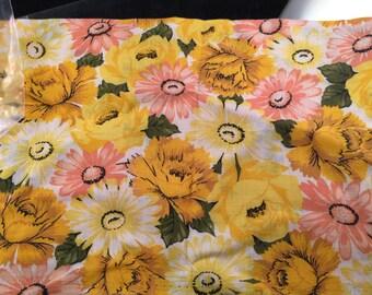 Vintage Yellow Floral Print Feedsack or Flour Sack (No Longer a Sack)