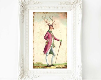 Deer print, anthropomorhic deer, Anthropomorphic stag, vintage decor, animal portrait, woodland print, deer decor, deer art, vintage stag