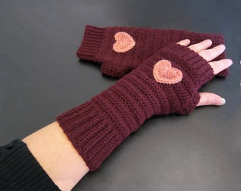 MADE TO ORDER - Fingerless gloves crochet arm warmers wrist warmers, burgundy, old rose heart Christmas gift for her crochet gloves