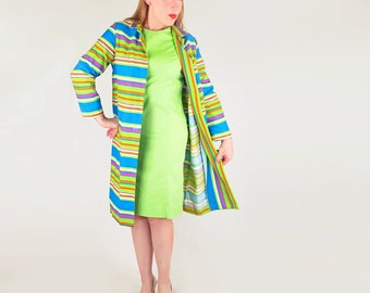60s Bright Blue Green Stripes Canvas Coat and Green Shift Dress by Flutterbye M L