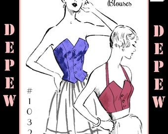Vintage Sewing Pattern Strapless & Halter Top Blouses 1950's Style Multi Size Depew 1032 -INSTANT DOWNLOAD-