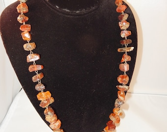 Vintage Raw Amber Necklace - Honey to Cognac Shades