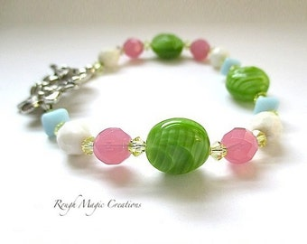 Colorful Spring Bracelet, MultiColor Pastels, Green Pink Blue White Yellow, Czech Glass Beads, Swarovski Crystal, Silver Flower Toggle Clasp