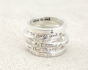 Inspirational Jewelry  - Personalized Graduation Jewelry - Silver Stacking Rings - Personalized Ring