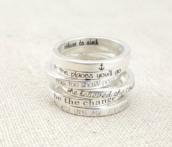 stackable silver inspirational rings