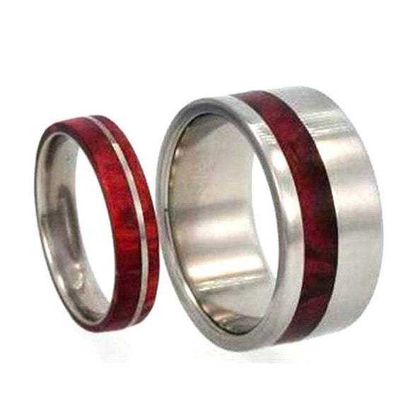 Wooden Wedding Band Set, Titanium Rings With Redwood, Men's Interchangeable Ring With Women's Wedding Band