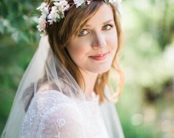 flower crown headband, bridal flower crown, flower crown headband, ivory flower crown, pink flower crown, floral crown wedding, woodland #88