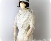 Lace Blanket Scarf Boho Lace Scarf Shabby Scarf  Tattered Scarf Long, Infinity Scarf Victorian Style, Bridal Scarf Vintage Wedding