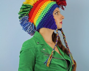 Rainbow Mohawk Ear Flap Beanie Hat Winter Gift For Kids Teens and Adults  LGBTQ Pride Parade Novelty Beanie Cap