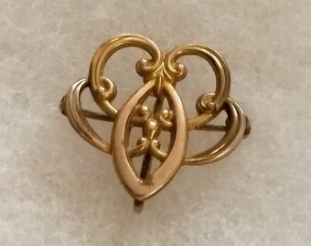 Antique Ladies Watch Pin, Art Nouveau rolled gold dainty Edwardian jewelry