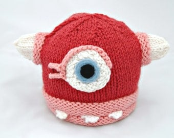 Wool Baby Monster Hat - Pink