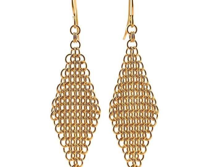 Custom Hand Woven Gold Mesh Earrings // Day or Evening // 14k Gold Filled or 18k Gold