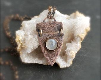 White Rainbow Moonstone Necklace - Etched Copper, Stone Pendant, Boho Paisley Print, Dark Oxidized Patina, Metalwork Gemstone Jewellery