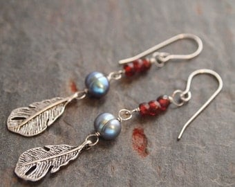 Garnet, Pearl and Feather Earrings