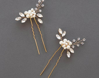 Crystal Hairpin | Rhinestone Hair Pins | Pearl Bridal Comb | Wedding Hair Accessories | Golden Bridal Headpiece | Bridesmaid [Senna Hairpin]