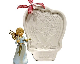 1995 Vintage Christmas Angel Cookie Mold   LOVE Mold   Longaberger Pottery   Gift For Baker   USA