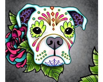 Boxer in White - Day of the Dead Sugar Skull Dog Art Print - 8 x 10 - Prints for Pits Rescue Donation