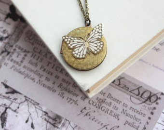 Vintage Locket Necklace Butterfly Vintage Brass Locket Necklace Mothers Day Gift Gold Brass Heart Locket, Heart Mom Necklace Gift for Her