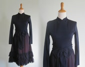 RESERVED Gorgeous 60s Blue Cocktail Dress by Miss Elliette - Vintage Navy Chiffon Dress with Jersey Top - Vintage 1960s Dress M