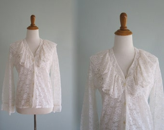 Glam 80s White Lace Ruffled Blouse - Vintage Sheer Lace Blouse by Tumbleweeds - Vintage 1980s Blouse M