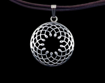 925 Sterling Silver Pendant inspired in Spirographic Art