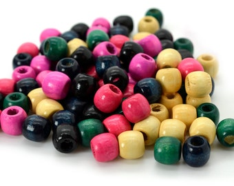 Wood Pony Beads, 11x 12mm, 110pcs, Barrel Beads, Mixed Color, Painted Wooden Beads, Focal   - B443