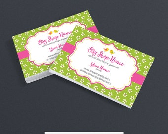 Printable Business Card Design - Floral Business Card - Spring Business Card - Birdie and Blossoms