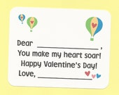 Hot Air Balloon Valentines - Fill in the Blanks Valentine's Day Cards - Great for Little Boys and Girls