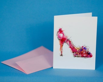 Spring Pump Shoe Note Card