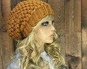 Crochet Ribbed Brim Slouchy Slouch Crochet Beanie Hipster Hat -   RIVER STONE   - MUSTARD