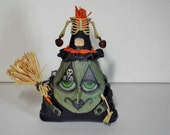 Halloween Witch Doll Sale and Free Shipping Bonnie Bones Handmade OOAK Primitive Folk Art Hag
