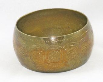 Vintage Wide Brass Bangle Bracelet (BR-3-2)
