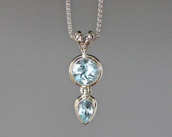 Blue Topaz Necklace - Bali Silver Pendant - December Birthstone - Blue Topaz Pendant - Bali Silver Necklace - Blue Gemstone Necklace - Gift